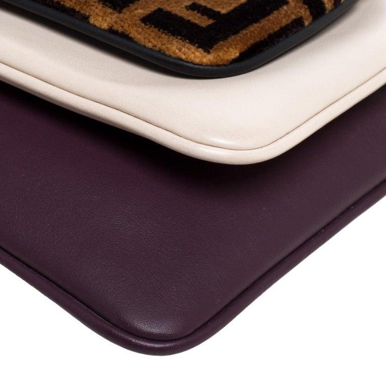 Fendi Multicolor Zucca Velvet and Leather Triplette Clutch Bag 6