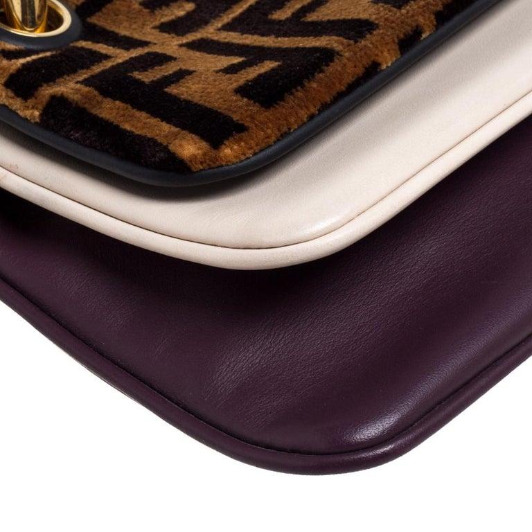 Fendi Multicolor Zucca Velvet and Leather Triplette Clutch Bag 7