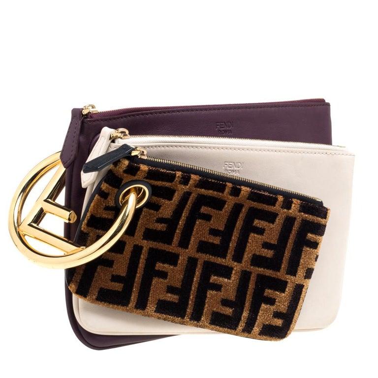 Fendi Multicolor Zucca Velvet and Leather Triplette Clutch Bag In Good Condition In Dubai, Al Qouz 2