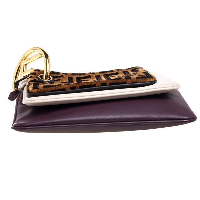 Women's Fendi Multicolor Zucca Velvet and Leather Triplette Clutch Bag
