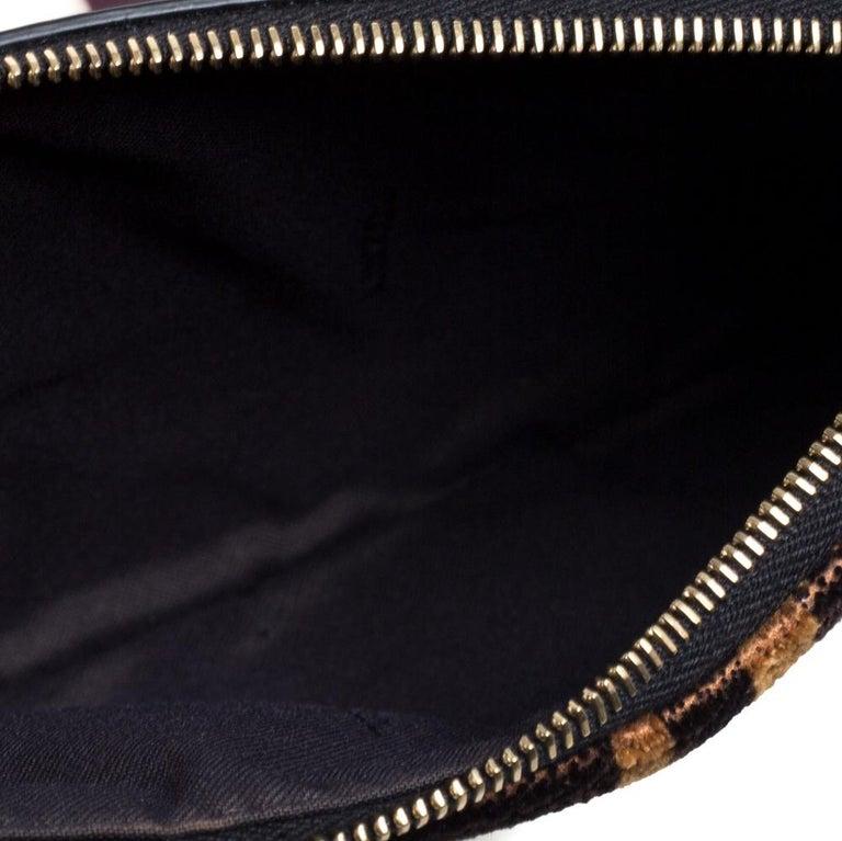 Fendi Multicolor Zucca Velvet and Leather Triplette Clutch Bag 2