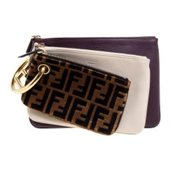 Fendi Multicolor Zucca Velvet and Leather Triplette Clutch Bag