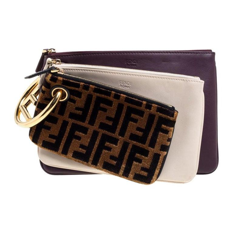 Fendi Multicolor Zucca Velvet and Leather Triplette Clutch Bag