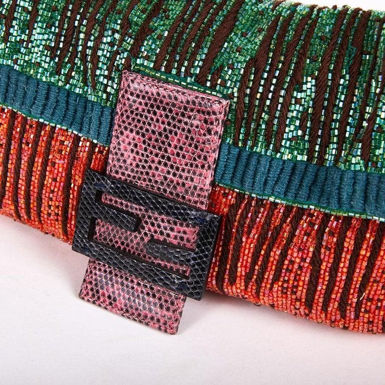 FENDI Multicolored Sequins and Lizard Baguette Bag 5