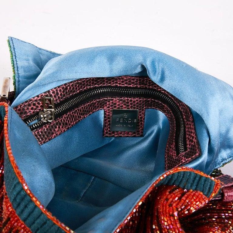 FENDI Multicolored Sequins and Lizard Baguette Bag 7