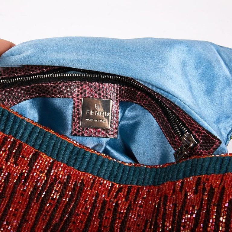 FENDI Multicolored Sequins and Lizard Baguette Bag 9