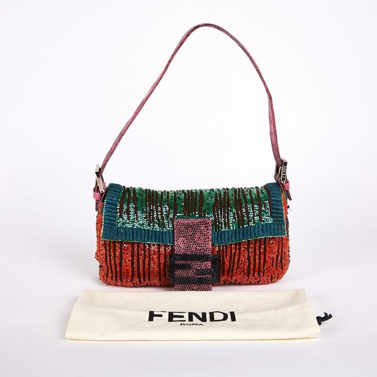 Black FENDI Multicolored Sequins and Lizard Baguette Bag