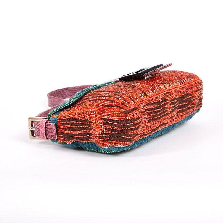 FENDI Multicolored Sequins and Lizard Baguette Bag 2