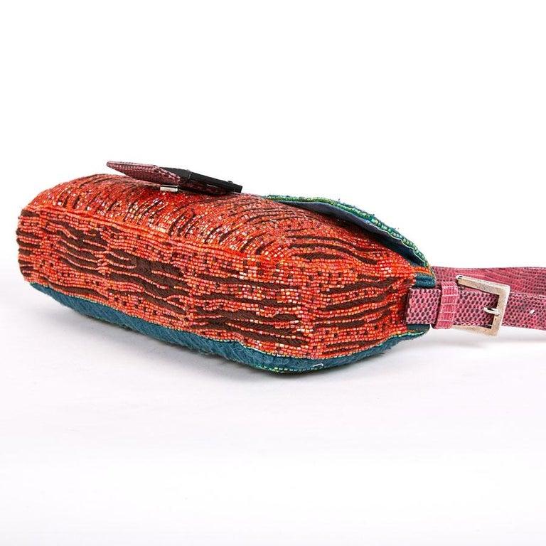 FENDI Multicolored Sequins and Lizard Baguette Bag 3
