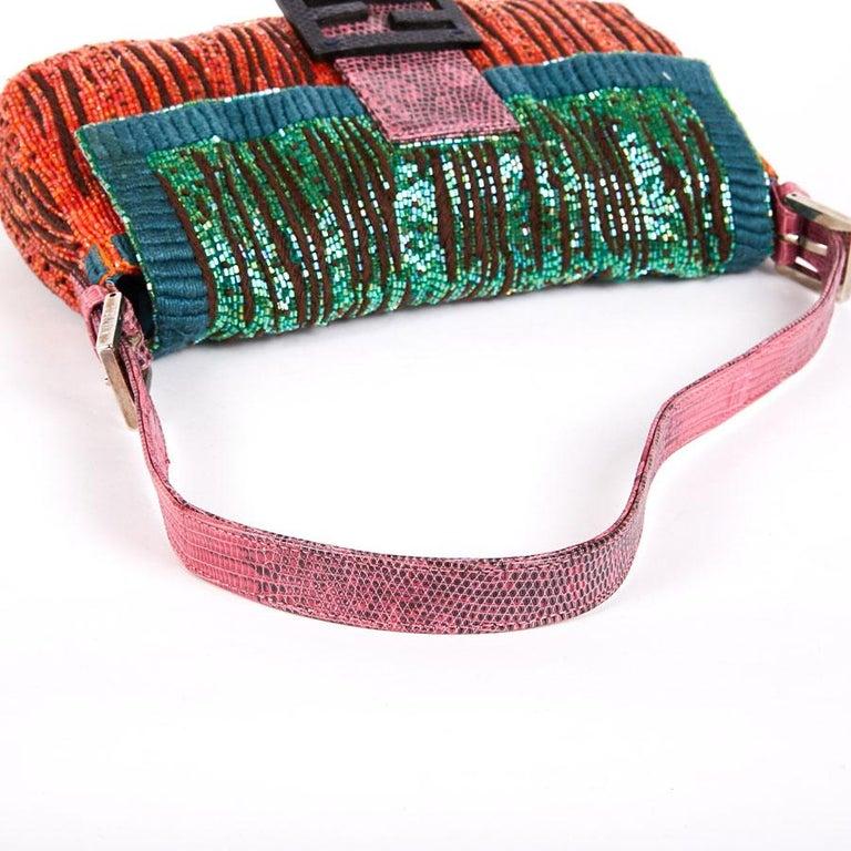 FENDI Multicolored Sequins and Lizard Baguette Bag 4