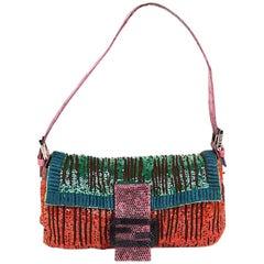 FENDI Multicolored Sequins and Lizard Baguette Bag