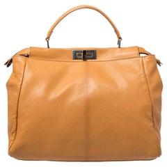 Fendi Mustard Yellow Leather Large Peekaboo Top Handle Bag