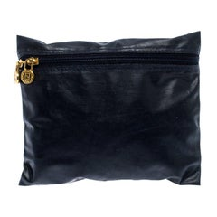 Fendi Navy Blue Coated Fabric Small Zip Pouch