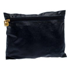 Fendi Navy Blue Coated Fabric Zip Pouch