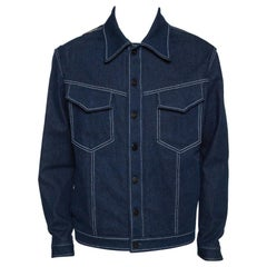 Fendi Navy Blue Denim & Latex Embossed Logo Detail Jacket L