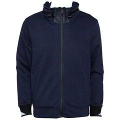 Fendi Navy Blue Knit Concealed Hooded Zip Front Jacket M