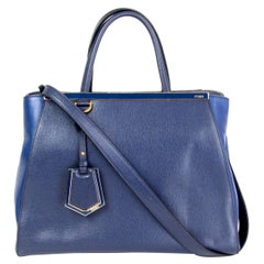 FENDI navy blue leather 2JOURS MEDIUM ELITE Tote Bag
