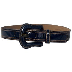 "Fendi Navy Blue Patent Leather Buckle Belt w/ Contrast Stitching sz 75cm/30"""