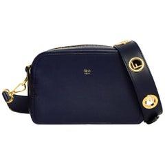 Fendi Navy Blueberry Leather Camera Bag