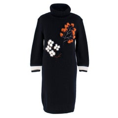 Fendi Navy Cashmere Floral Feather Embroidered Jumper Dress 38
