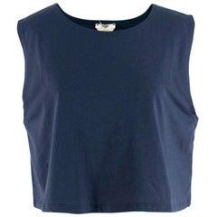 Fendi Navy Cotton Sleeveless Crop Top - Size US 4