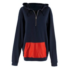Fendi Navy Sweatshirt with Red Contrast Pocket IT 50