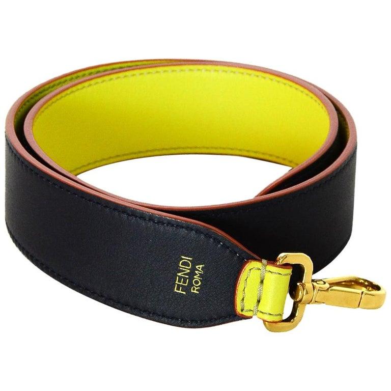 7ee3a10b Fendi Navy/Yellow Strap You Bag Strap w. Dust Bag