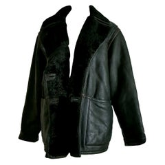 "FENDI ""New"" Black Leather Brown Stripes Shearling Collar Coat Jacket - Unworn"