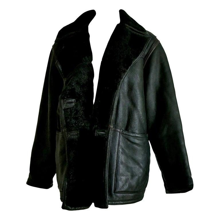 "FENDI ""New"" Black Leather Brown Stripes Shearling Collar Coat Jacket - Unworn For Sale"
