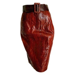 "FENDI ""New"" Red Python Skin Skirt with Belt - Unworn"