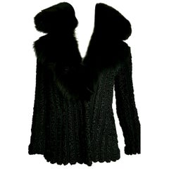"FENDI ""New"" Wild Russian Karakul with Fox Collar Black Fur Jacket - Unworn"