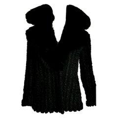 "FENDI ""New"" Wild Russian Karakul with Fox Collar Black Fur Jacket - Unworn"