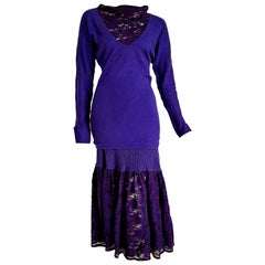 """FENDI """"New"""" Wool Violet Lace Sweater Skirt Outfit - Unworn"""