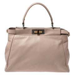 Fendi Nude Leather Medium Peekaboo Top Handle Bag