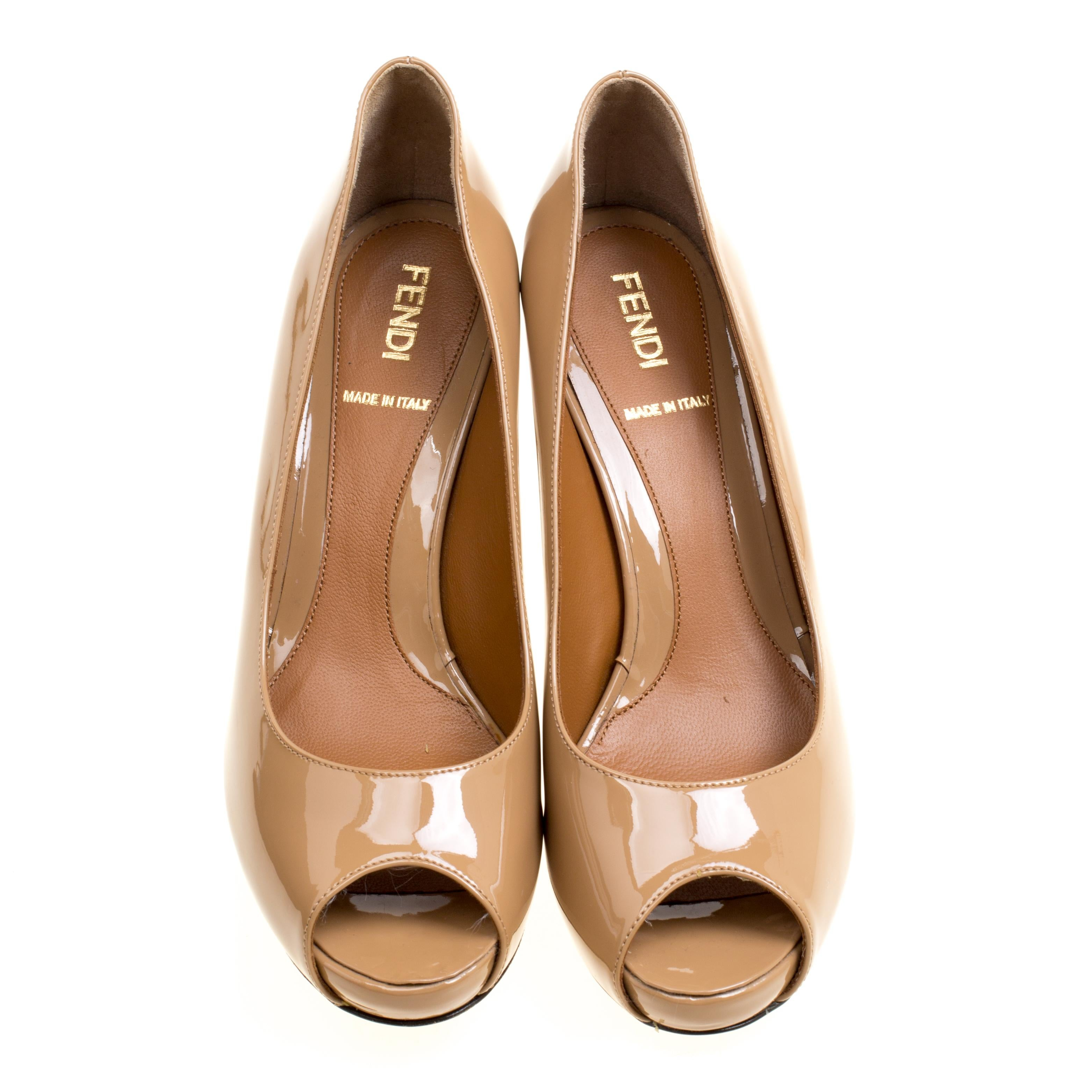 69f19bcb7cc Fendi Nude Patent Leather Zucchino Heel Peep Toe Platform Pumps Size 36 For  Sale at 1stdibs