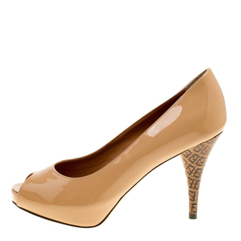 b8affec1b9ad Fendi Nude Patent Leather Zucchino Heel Peep Toe Platform Pumps Size 36 For  Sale