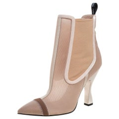 Fendi Nude Pink Mesh And Fabric Colibri Ankle Length Boots Size 39