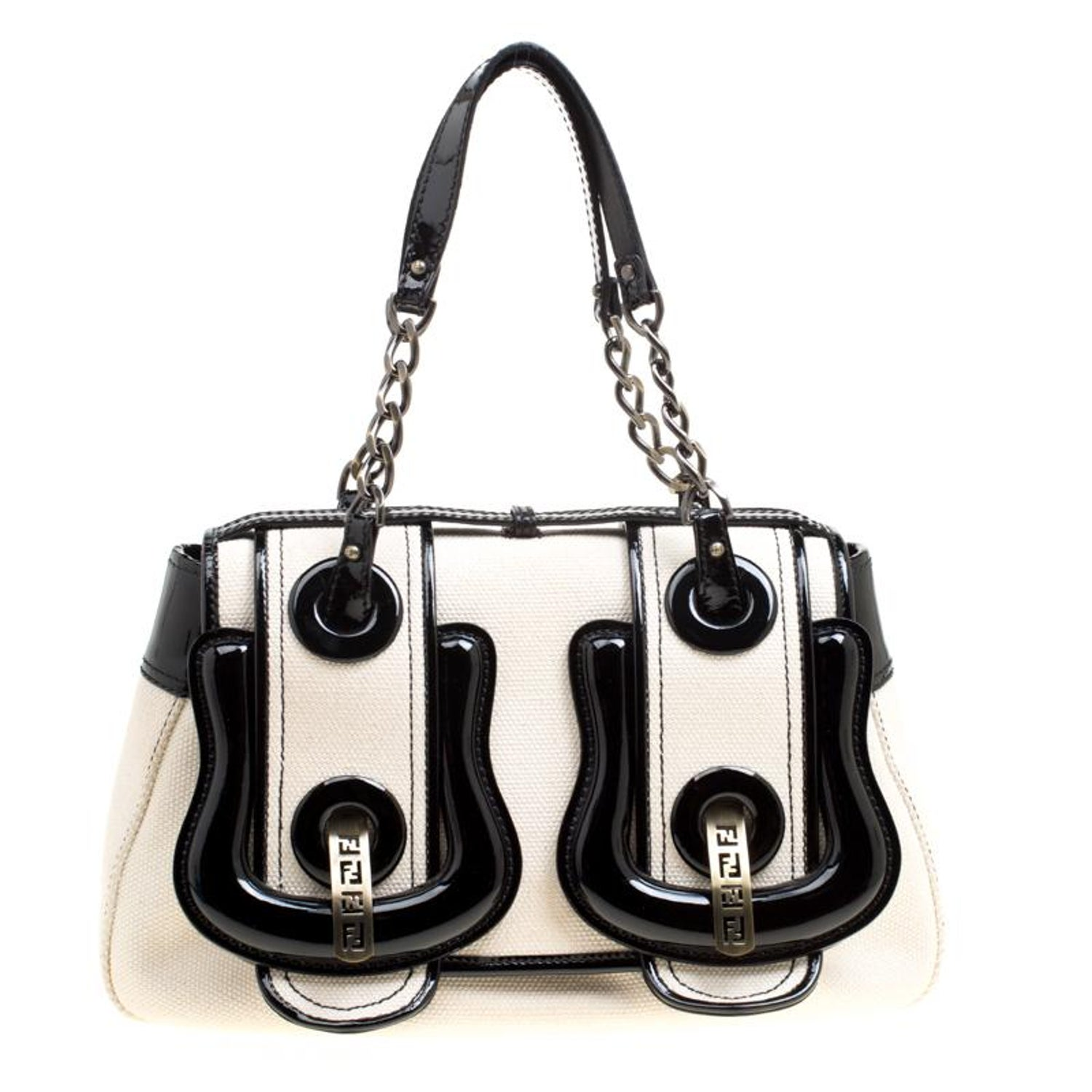 b25599c5c6 Fendi Off White/Black Canvas and Patent Leather B Shoulder Bag