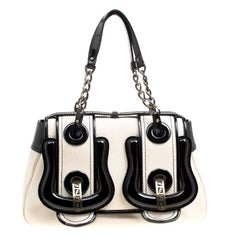 Fendi Off White/Black Canvas and Patent Leather B Shoulder Bag