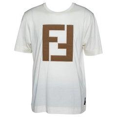 Fendi Off White Cotton Knit Appliquéd Logo Crew Neck T-Shirt M