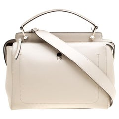 Fendi Off White Leather Dotcom Top Handle Bag