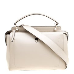 Fendi Off White Leather Dotcom Top Handle Bag