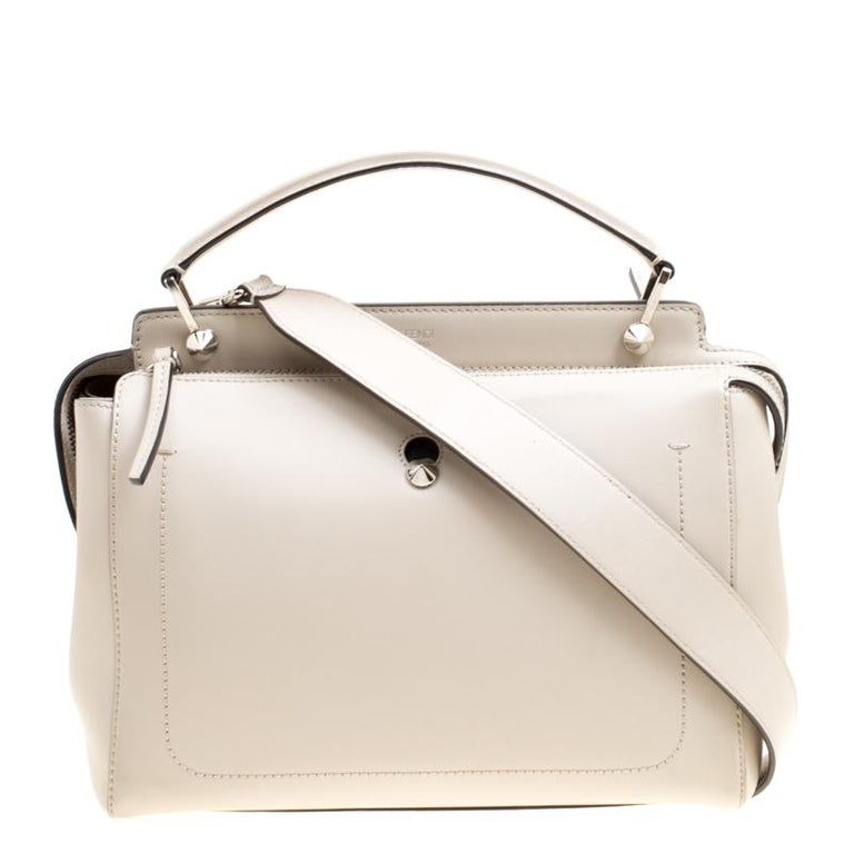 79cbd424d2 Fendi Off White Leather Dotcom Top Handle Bag For Sale at 1stdibs