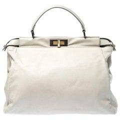Fendi Off White Leather Large Peekaboo Top Handle Bag