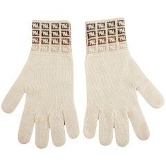 FENDI Off-White Wool Gloves