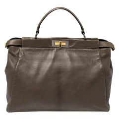Fendi Olive Green Leather Large Peekaboo Top Handle Bag