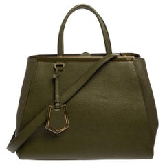 Fendi Olive Green Leather Medium 2Jours Tote