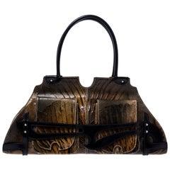 Fendi Olive Textured Leather Trapezio Shoulder Bag