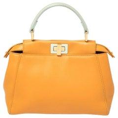 Fendi Orange/Green Leather Mini Peekaboo Top Handle Bag