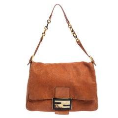 Fendi Orange Iridescent Nubuck Leather Large Mama Forever Flap Shoulder Bag